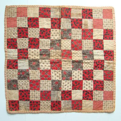 Antique c1880 Doll Quilt One Patch Design Red Black Calico Handstitched | eBay