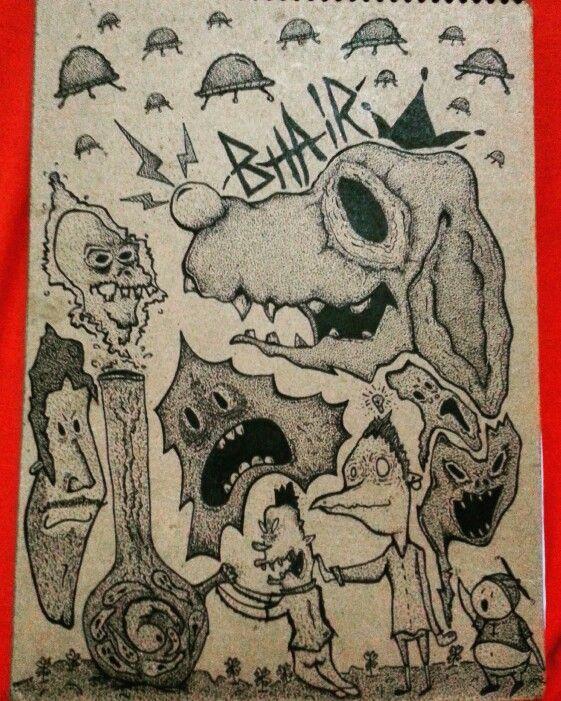 Cover Sketh. #thebhairtapia #nosoyilustrador #draw #cartoon #illustration #dotwork #pointillism #bong #weed #monster #creepy #weird #bizarre #alien #ufo