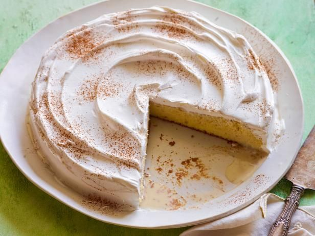 Tres Leches Cake Recipe from Food Network.  The flavor of this is great but there is too much milk to be absorbed so the cake ends up a little too moist.