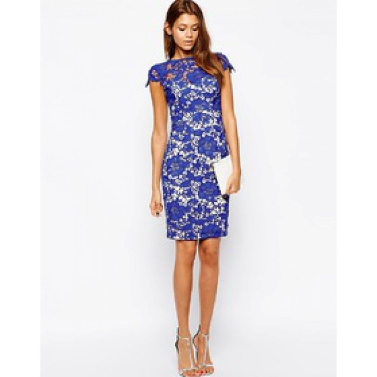 Blauw kanten jurk