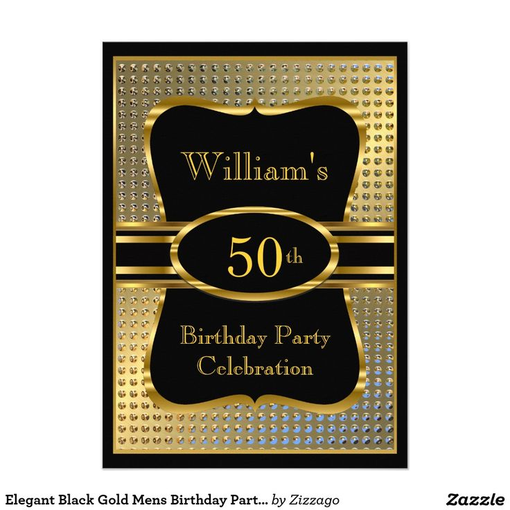 31 best mens birthday party invitations images on pinterest elegant black gold mens birthday party invitation stopboris Image collections