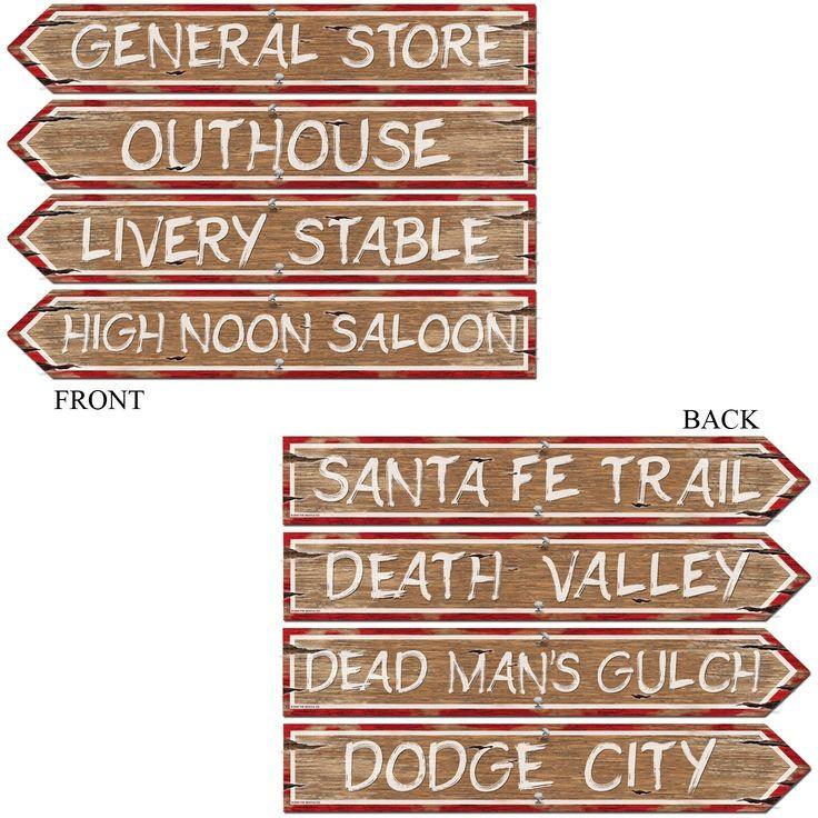 Sjove vejskilte til dekoration til din Cowboy temafest.