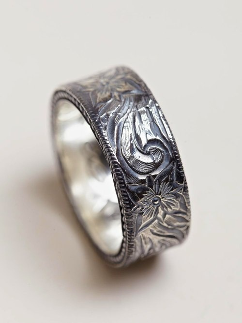 Nonnative Men's Western Flower Silver Ring