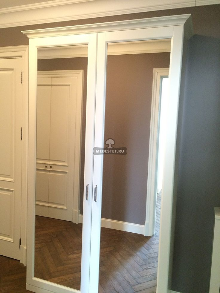Двери шкафа зеркальные распашные МДФ / Меб Эстет