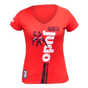 FUJI Sports USA Judo T-Shirt, Women's, Red
