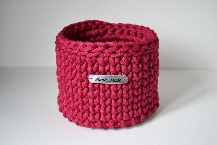 Dark pink/ cherry colour basket, rope crochet basket, small storage basket, home decor by iKNITSTORE on Etsy