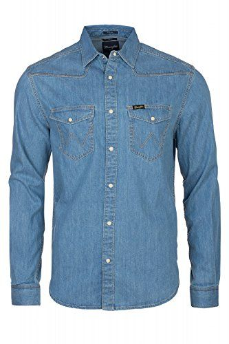1d14a17592 Wrangler Longsleeve Classic Western Men s Jeans Shirt Blue W5834O14Ecool jeans  shirt for men from Wranglerideal for