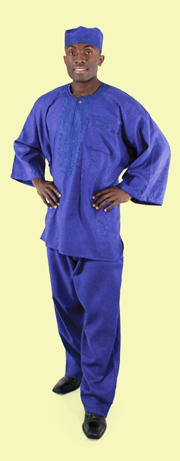 Traditional African pant set with pants, a shirt, and a hat - This comfortable and classy African suit is perfect for wearing to a Black History Month event or wearing all year long to celebrate African culture and history.   Celebrate your love of African fashion with this comfortable traditional African pants set.  #africanfashion #fashion #africa #african #mensfashion #africanclothing #mensstyle #stylish #style
