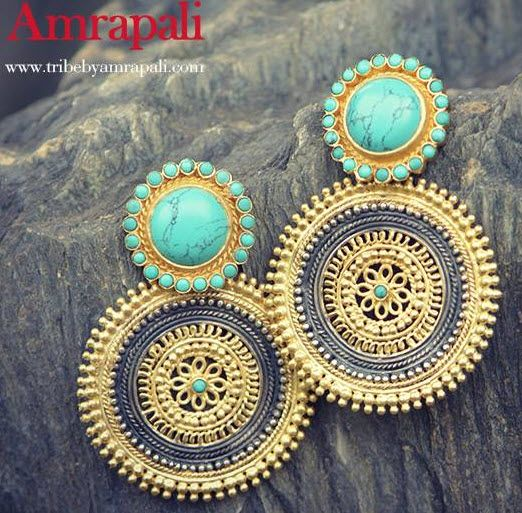 amrapali earrings! Perfect mix of turquoise with gold and silver
