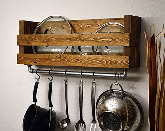 Modern Kitchen Shelf Pot Rack Wall Spice Rack by RusticModernDecor
