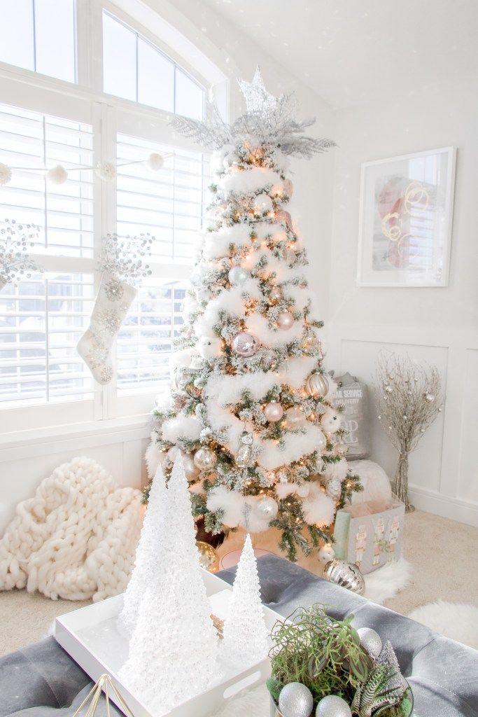 Our White Fluffy Christmas Tree Christmas Decor Pinterest