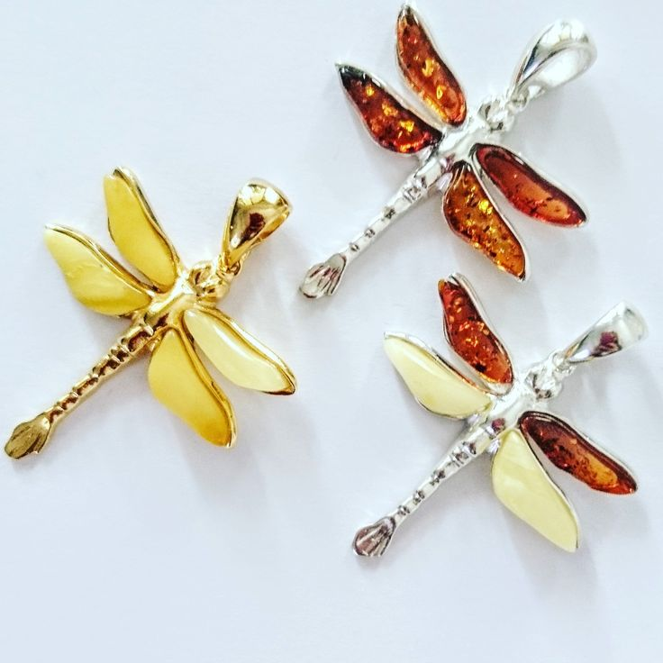 Pendants dragonflies silver925 with Baltic amber made by Guzowski