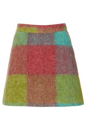 Petite Fluffy Check Skirt
