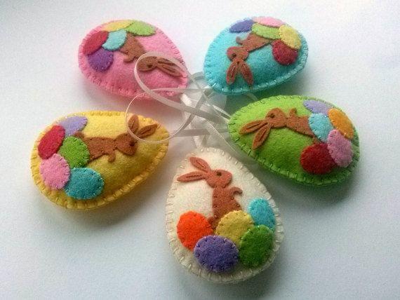 Easter bunny eggs, Felt Easter decoration - felt egg with bunny, Easter decor, felt Easter decor, felt egg ornament, felt Easter eggs