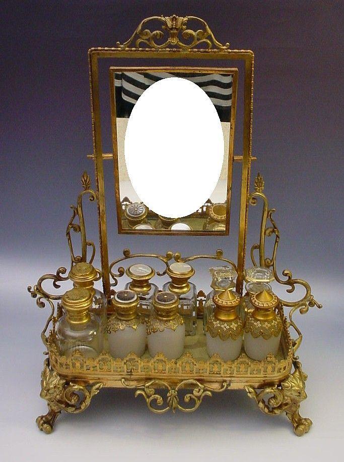 Divine Antique French Bronze Perfume Vanity Quot Mirror And