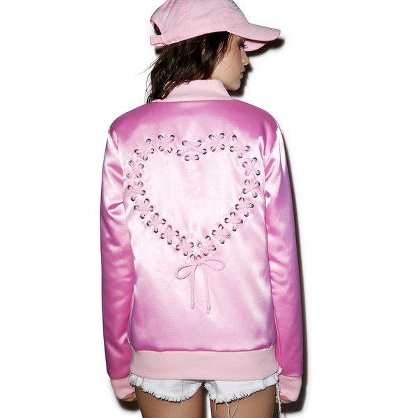 Sugarpills Satin Lace Up Bomber Jacket ($110) ❤ liked on Polyvore featuring outerwear, jackets, blouson jacket, pink jacket, pink zip jacket, zip jacket and pink bomber jacket