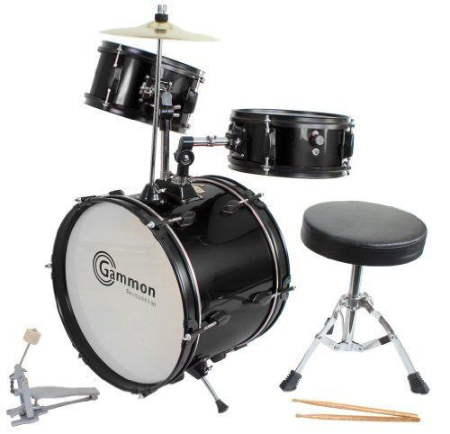 Drum Set Black Complete Junior Kid's Children's Size With Cymbal Stool Sticks - Sticks - Everything You Need To Start Playing, 2015 Amazon Top Rated Musical Instruments #MusicalInstruments
