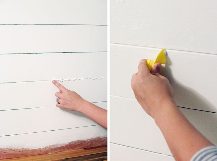How to Make an Inexpensive Plank Backsplash - Note: She ***** CAULKED ****** in between ***** the boards *** to KEEP OUT ******* FOOD, DUST, etc.  She left a  **** little dip ***** (concave curve ****** ) in the caulk so the lines between the boards still showed.-She did not caulk flush to the top of the board surface.