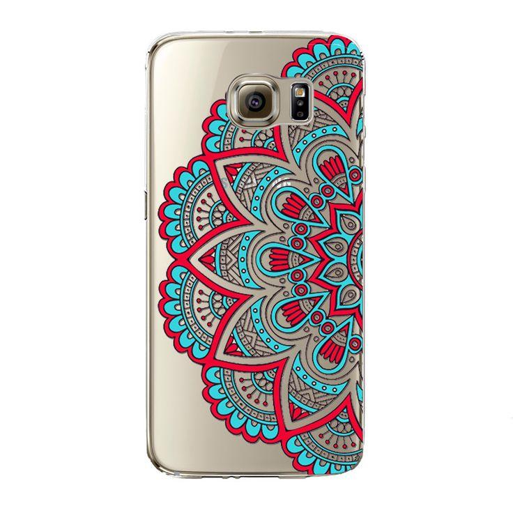 Floral flor de paisley mandala henna phone case para samsung galaxy s5 s6 s6edge s6edgeplus s7 s7edge borrar de silicona suave fundas - envíos gratis en todo el mundo
