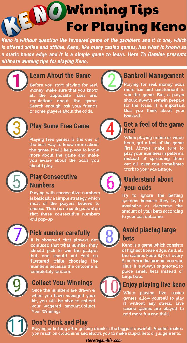 If you've never played a game of keno before, it's a really easy play. Here we explain the tips of the game in this infographic. #keno #WinningTips #KenoTips #gambling #bettingtips #Strategy