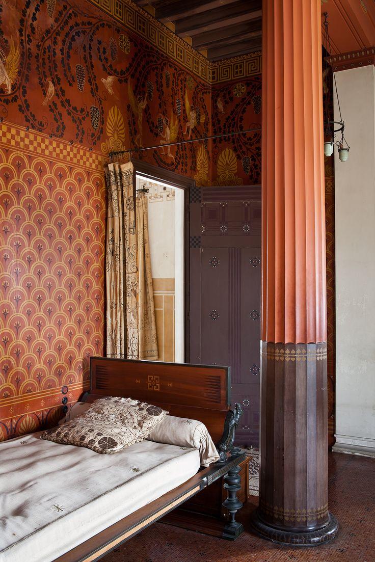 Lit antique dans la chambre de Théodore Reinach, propriétaire de la Villa Kérylos (Beaulieu-sur-mer) © S. Lloyd