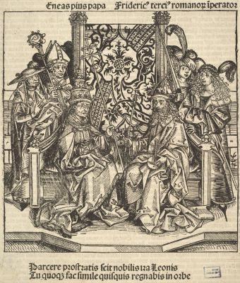 Папа Пий и римский император Фридрих - Немецкая гравюра