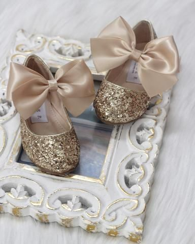 Girls shoes GOLD Rock Glitter Maryjane Flats With GOLD Satin Bow