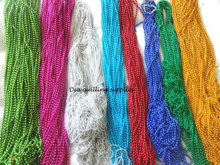 9 colors of chain beads Rs 8/metre  Buy all 8 @ Rs 70