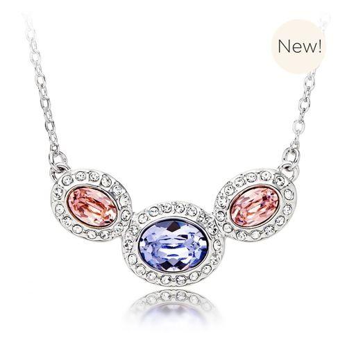 Christie Oval Statement Necklace with Pink Lavender Swarovski® Crystals