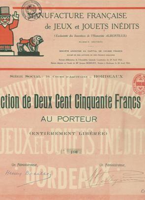 Manufacture Française de Jeux et Jouets Inédits, Bordeaux, 1922