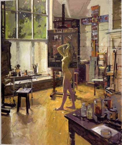 Ken Howard, Letitia at Oriel, 2005. Kenneth Howard OBE RA (b.1932) is an English artist and painter. In 1983 he was elected an Associate of the Royal Academy (ARA). In 1998 he became President of the New English Art Club, a post he held until 2003. In 1991 he was elected a Royal Academician (RA). [Wikipedia]