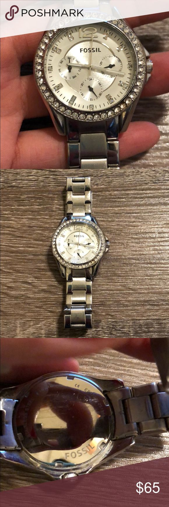 Ladies fossil watch Ladies Flossie watch in silver. Shiny rhinestone surround the face and are on the hour pieces.  Battery is dead but can be replaced at a fossil or mall vendor for like $5. Fossil also has a 17 year warranty on their watches. Some wear and tear which is reflected in price. Comes with extra links. Fossil Accessories Watches