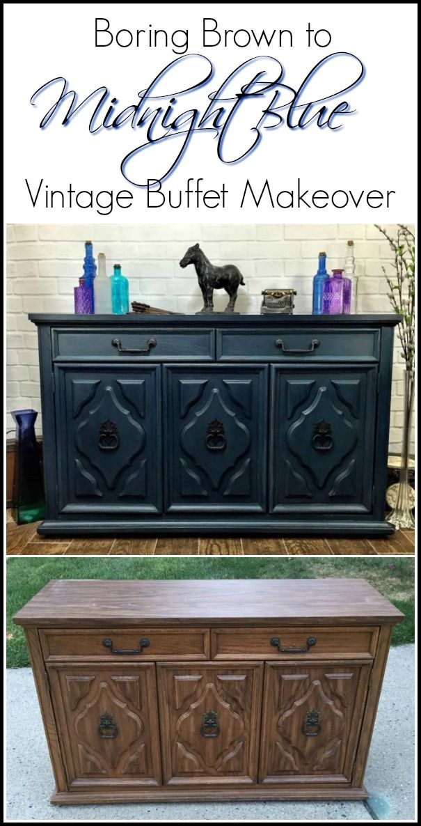 A china cabinet turned into two makeovers, one being a blue painted buffet from the bottom portion.