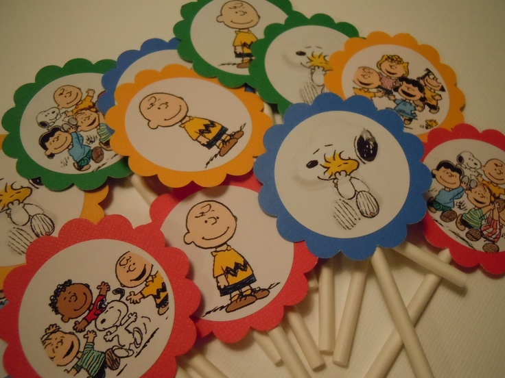 Charlie Brown Snoopy Cupcake Toppers Packed 12 also available Happy Birthday Banners Party Favor Tags