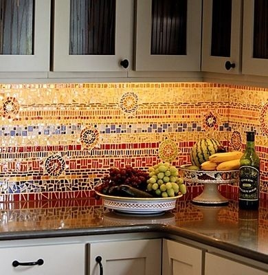 11 Unique #Backsplash Ideas, including mosaic tile.
