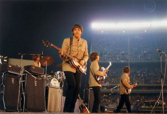 15th August 1965. The Beatles at the peak of Beatlemania performing in front of 56,000 people at New York's Shea Stadium.