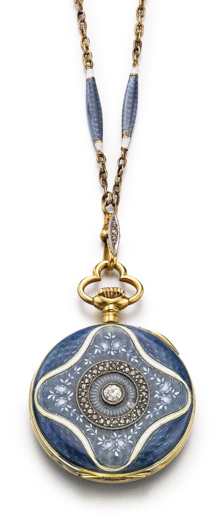 VULCAIN AN 18K YELLOW GOLD, ENAMEL AND DIAMOND-SET OPEN-FACED PENDANT WATCH WITH CHAIN CIRCA 1900