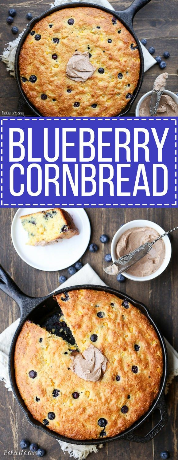 Blueberry Cornbread - A sweeter take on traditional cornbread with fresh blueberries and sweet corn kernels. It's baked in a skillet and served with whipped cinnamon honey butter.