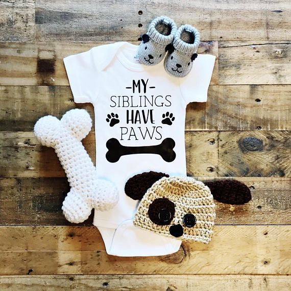 Meine Geschwister haben Pfoten Kinderhemd für Hundeliebhaber | Kinderhundeshirt | Hunde und Kinder – Baby