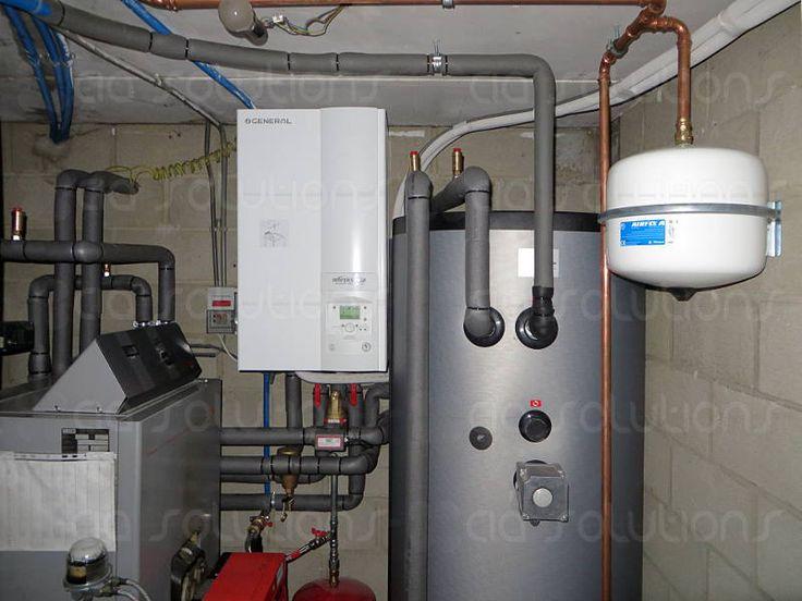 Alweer een warmtepompinstallatie van CIA solutions, een General Fujitsu Waterstage Warmtepomp bivalent in combinatie met een stookolieketel en een sanitaire boiler