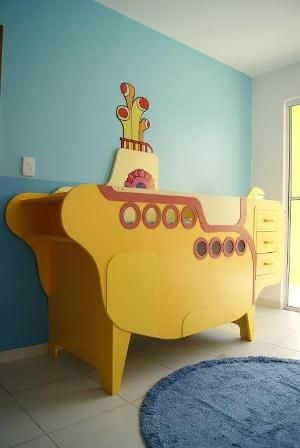 Yellow Submarine crib -A Yellow Submarine nursery would be both awesome and a little scary!