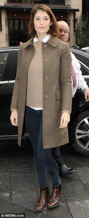 Gemma Arterton looks effortlessly chic in grey beret and checked coat #dailymail