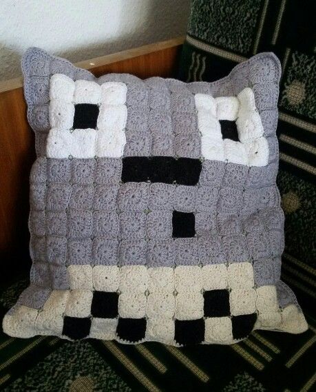 Crochet pixel art Totoro pillow