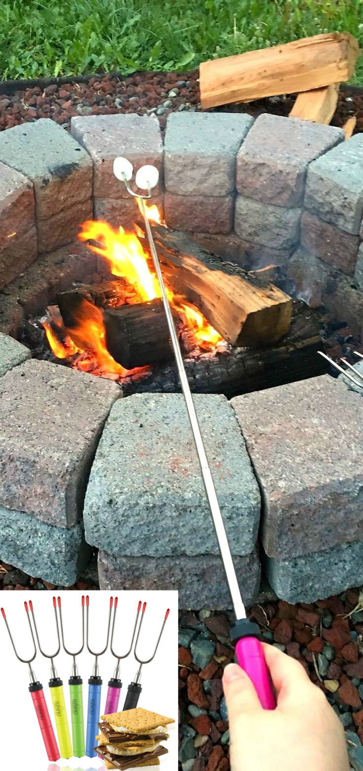 """SUMPRI Barbeqa Marshmallow Roasting Sticks Telescoping Marshmallow Roasting Sticks Extra Long 34"""" Set of 6 Campfire Forks Cooking Skewers for Smores, Hotdogs, Camping Cookware, Backpacking Gear, Bbq Grill, Fireplace Tools, Fire Pit Accessories Press this link now and get your set:http://amzn.to/2b5q486 This set of 6 forks is made by #sumpri #marshmallow #sticks #marshmallowroastingsticks #smoressticks #campfiresticks #smores"""