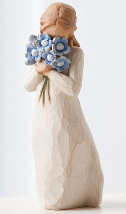 My grandma just passed away last year, and it's been hard on my mom. My grandma always gave Willow Tree statues like this one. I like this one in particular because it reminds me of when my mom and I used to plant flowers for my grandma  when she became too sick to do it herself.  Forget Me Not (Wood)  by Willow Tree  #DesBookMomGiveaway