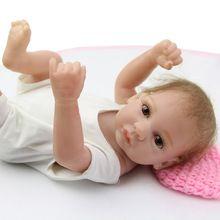 10 Inches Handmade Reborn Baby Doll Girl Full Silicone Vinyl Princess Dolls Wearing White Clothes Children Birthday Gift(China (Mainland))