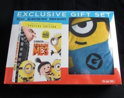 Despicable Me 3 Blu-Ray DVD Digital Special Edition Minion Backpack Gift Set