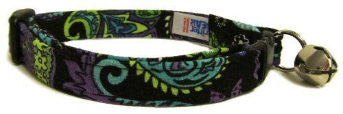 Breakaway Cat Collar in Purple Green Black Paisley Handmade in the USA ** You can get more details by clicking on the image.