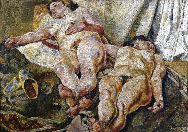 Fausto Pirandello - Composizione con nudi e pantofole gialle, 1923