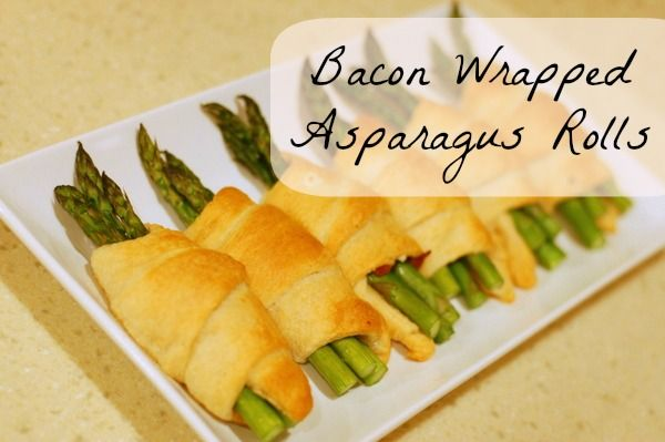 Easy Bacon Wrapped Asparagus Rolls, I can think of no better way to ruin the healthyness of asparagus than covering in bacon and pastry.